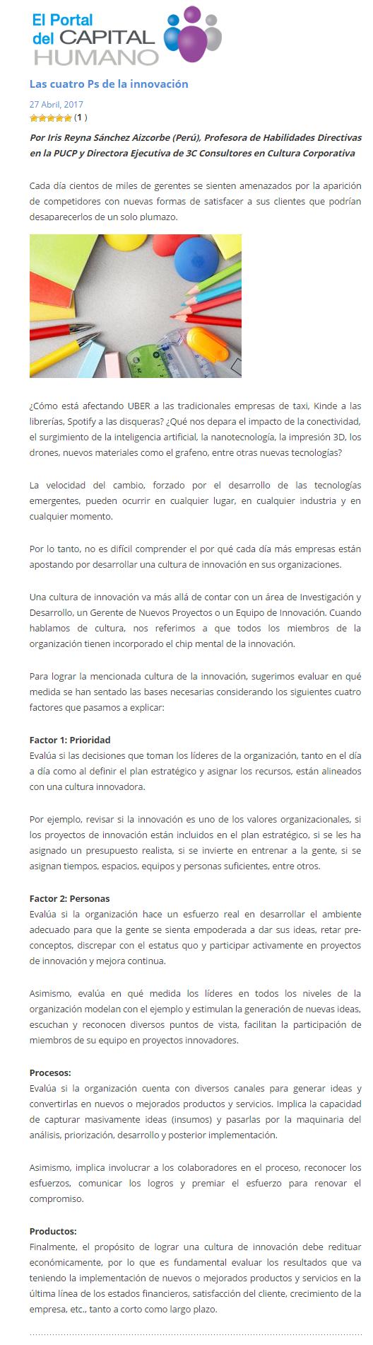 1 Las cuatro Ps de la innovación   Recursos Humanos  el portal del Capital Humano   Guia empresas recursos humanos peru